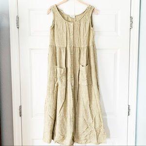 Moda Int'l Tan Sleeveless Lagenlook Dress Sz Small